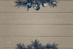 Winter wooden background with spruce branches Stock Image