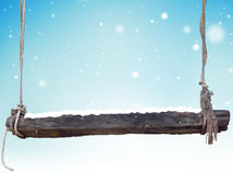 Winter wooden bench light blue snowflakes background. Graphic 3d illustration Royalty Free Stock Images