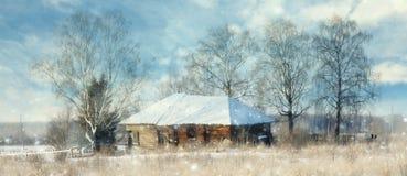 Winter wooden house Stock Photos