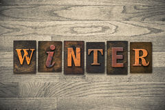 Winter Wooden Letterpress Theme Royalty Free Stock Photo