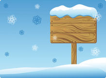 Winter Wooden Signboard Stock Photography