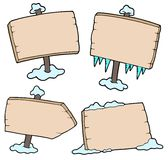 Winter wooden signs Royalty Free Stock Image