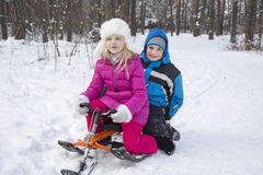 Winter in the woods a little boy and girl sitting on a sled. Stock Image