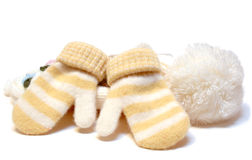 Winter wool knitted cap and mittens. Royalty Free Stock Photo