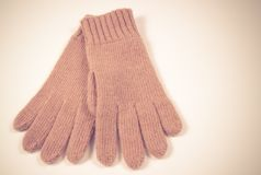 Winter, woolen gloves on a white background. Stock Photo