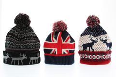 Winter woolen hats Royalty Free Stock Image