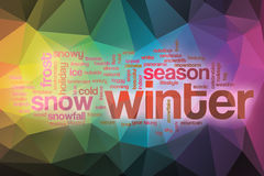 Winter word cloud with abstract background Royalty Free Stock Photos