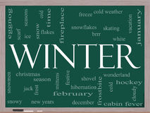 Winter Word Cloud Concept on a Blackboard Stock Photo