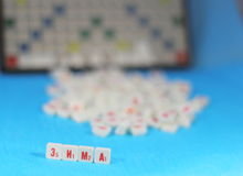 Winter the word. Composed of a cubes with the letters. Scrabble game. soft focus stock image