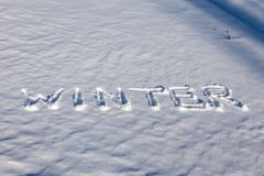 Winter word on the snow Stock Photo