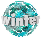 Winter Word Snowflake Snow Ball Season Change. Winter word in 3d letters on a ball of snowflakes or blue and white snow ball to illustrate the change of seasons Royalty Free Stock Images