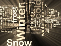 Winter wordcloud glowing Royalty Free Stock Image