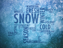 Winter words cloud on snowy blue background Stock Photo