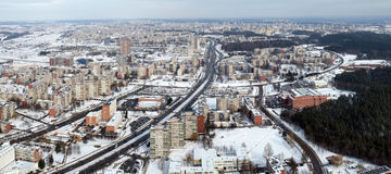 Winter world. City in the white snow. Winter time Stock Photography