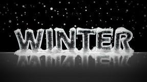 Winter written in ice stock image