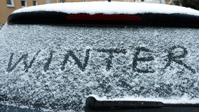 Winter written on snow Royalty Free Stock Photography