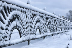 Winter wrought fence gates Royalty Free Stock Images