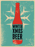 Winter, Xmas, Beer. Typographic retro grunge Christmas beer poster. Vector illustration. Royalty Free Stock Photo