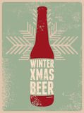 Winter, Xmas, Beer. Typographic retro grunge Christmas beer poster. Vector illustration. Stock Photo