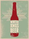 Winter, Xmas, Beer. Typographic retro grunge Christmas beer poster. Vector illustration. Stock Photo