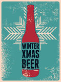 Winter, Xmas, Beer. Typographic retro grunge Christmas beer poster. Vector illustration. Royalty Free Stock Image