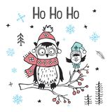 Winter xmas christmas happy new year greeting card with cute funny  arctic owl and bird Stock Image