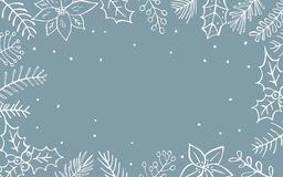 Winter xmas christmas seasonal foliage branches flowers twigs border. Texture Royalty Free Stock Images