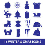 Winter and xmas icon collection eps10. Winter and xmas blue icon collection eps10 Vector Illustration