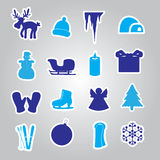 Winter and xmas icon stickers eps10 Stock Image