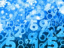 Winter xmas sale random numbers blue background Stock Images