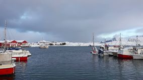 Winter Yacht Club in Lofoten. Winter Norway. Lofoten. Several yachts stand in a small harbor in the background of the mountains. Small fishing boat goes stock footage