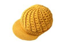 Winter yellow wool cap Royalty Free Stock Image