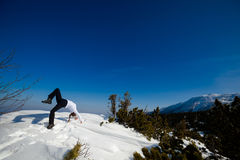 Winter yoga session in beautiful mountain place Royalty Free Stock Image