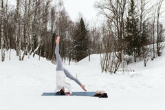 Winter yoga session in beautiful place royalty free stock image