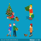 Winter young happy people family flat vector isometric 3d. Winter young happy people family set flat 3d isometry isometric concept web vector illustration Stock Photo