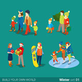Winter young happy people family flat vector isometric 3d Royalty Free Stock Photos