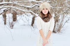 WInter young woman portrait outdoor Stock Photos