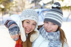 Winter. Young women outdoors. Stock Image