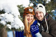 Young happy people in winter Royalty Free Stock Photography