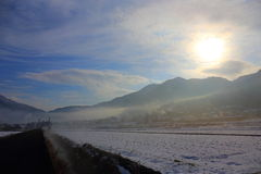Winter Yufuin morning mist Royalty Free Stock Image