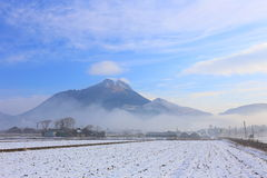 Winter Yufuin morning mist Royalty Free Stock Photos