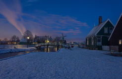 Winter Zaanse Schans. Traditional Dutch landscape early in the morning Royalty Free Stock Photo