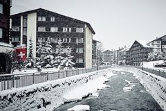 Winter Zermatt houses and the river royalty free stock images