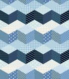Winter zigzag seamless patchwork pattern in blue tones. Royalty Free Stock Images