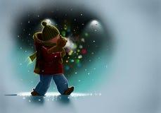Winterabend Stockbild
