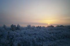 Winterabend in den Urals Lizenzfreie Stockfotos