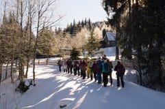 Winterabenteuer Wanderung im Wald Karpaten ukraine stockfotos