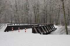 Winteransicht der Brücke stockbild