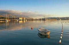 Winteransicht der Bucht von Stadt Kotor und Tivat, Montenegro Stockfoto