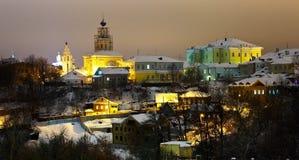 Winteransicht des alten Bezirkes Stockfotografie
